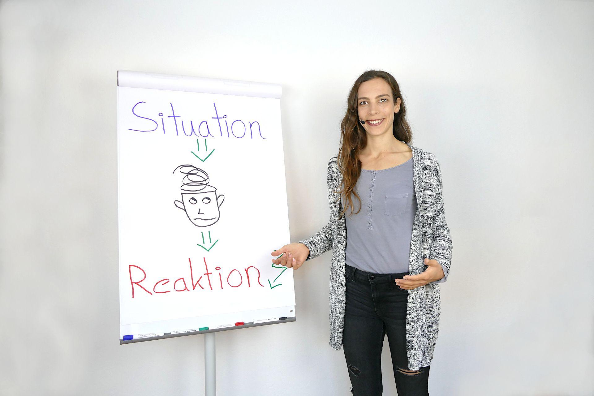 Stressmanagement und Psychologische Online Beratung: Anna steht vor einem Flipchart und hält einen Vortrag, zum Thema Stressmanagement. Auf dem Flipchart sieht man einen Kopf mit wirren Gedanken, die man ordnen sollte.
